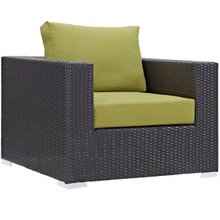 Convene Outdoor Patio Armchair, Green, Rattan 9872