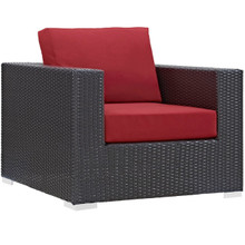 Convene Outdoor Patio Armchair, Red, Rattan 9873
