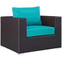 Convene Outdoor Patio Armchair, Blue, Rattan 9874