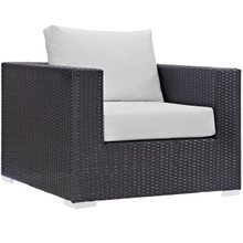 Convene Outdoor Patio Armchair, White, Rattan 9875