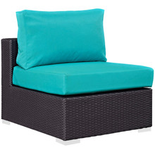Convene Outdoor Patio Armless, Blue, Rattan 9890