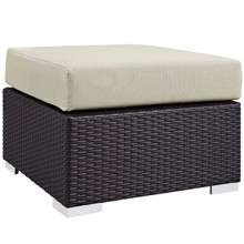 Convene Outdoor Patio Fabric Square Ottoman, Beige, Rattan 9892