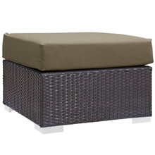 Convene Outdoor Patio Fabric Square Ottoman, Brown, Rattan 9893