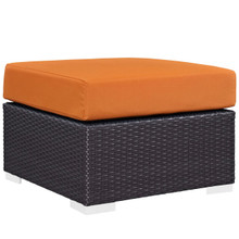 Convene Outdoor Patio Fabric Square Ottoman, Orange, Rattan 9894