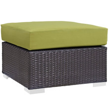 Convene Outdoor Patio Fabric Square Ottoman, Green, Rattan 9895