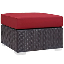 Convene Outdoor Patio Fabric Square Ottoman, Red, Rattan 9896