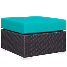 Convene Outdoor Patio Fabric Square Ottoman, Blue, Rattan 9897