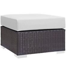 Convene Outdoor Patio Fabric Square Ottoman, White, Rattan 9898