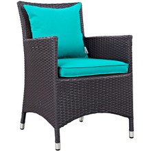 Convene Dining Outdoor Patio Armchair, Blue, Rattan 9904