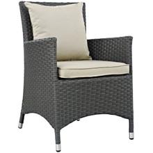 Sojourn Dining Outdoor Patio Sunbrella Armchair, Beige, Rattan 9914