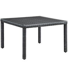 "Summon 47"" Square Outdoor Patio Dining Table, Grey, Rattan 9928"