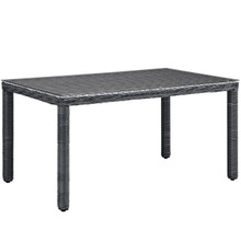 "Summon 59"" Outdoor Patio Dining Table, Grey, Rattan 9935"