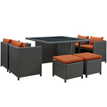Sojourn Nine PCS Outdoor Patio Sunbrella Dining Set, Orange, Rattan 9938
