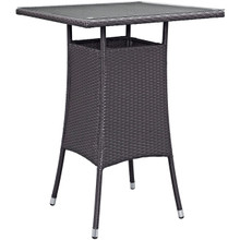Convene Small Outdoor Patio Bar Table, Brown, Rattan 9948