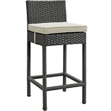 Sojourn Outdoor Patio Sunbrella Bar Stool, Beige, Rattan 9950