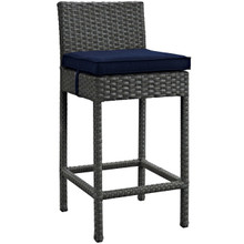 Sojourn Outdoor Patio Sunbrella Bar Stool, Navy, Rattan 9951