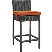 Sojourn Outdoor Patio Sunbrella Bar Stool, Orange, Rattan 9952