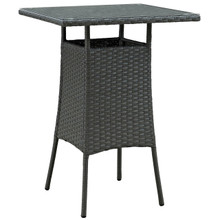 Sojourn Small Outdoor Patio Bar Table, Brown, Rattan 9953
