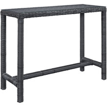 Summon Large Outdoor Patio Bar Table, Grey, Rattan 9954