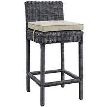 Summon Outdoor Patio Sunbrella Bar Stool, Beige, Rattan 9955