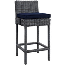 Summon Outdoor Patio Sunbrella Bar Stool, Navy, Rattan 9956