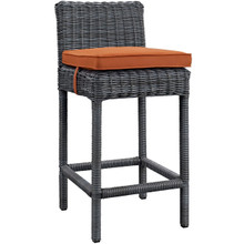 Summon Outdoor Patio Sunbrella Bar Stool, Orange, Rattan 9957
