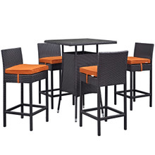 Convene Five PCS Outdoor Patio Pub Set, Orange, Rattan 9960