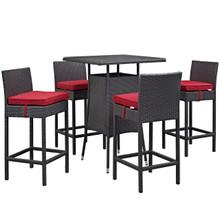 Convene Five PCS Outdoor Patio Pub Set, Red, Rattan 9962
