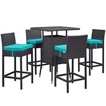 Convene Five PCS Outdoor Patio Pub Set, Blue, Rattan 9963