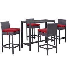 Convene Five PCS Outdoor Patio Pub Set, Red, Rattan 9969