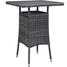 Summon Small Outdoor Patio Bar Table, Grey, Rattan 9984