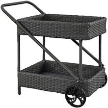 Sojourn Outdoor Patio Beverage Cart, Brown, Rattan 9985