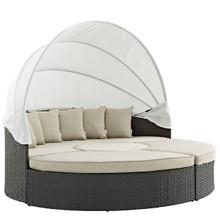 Sojourn Outdoor Patio Sunbrella Daybed, Beige, Rattan 9999