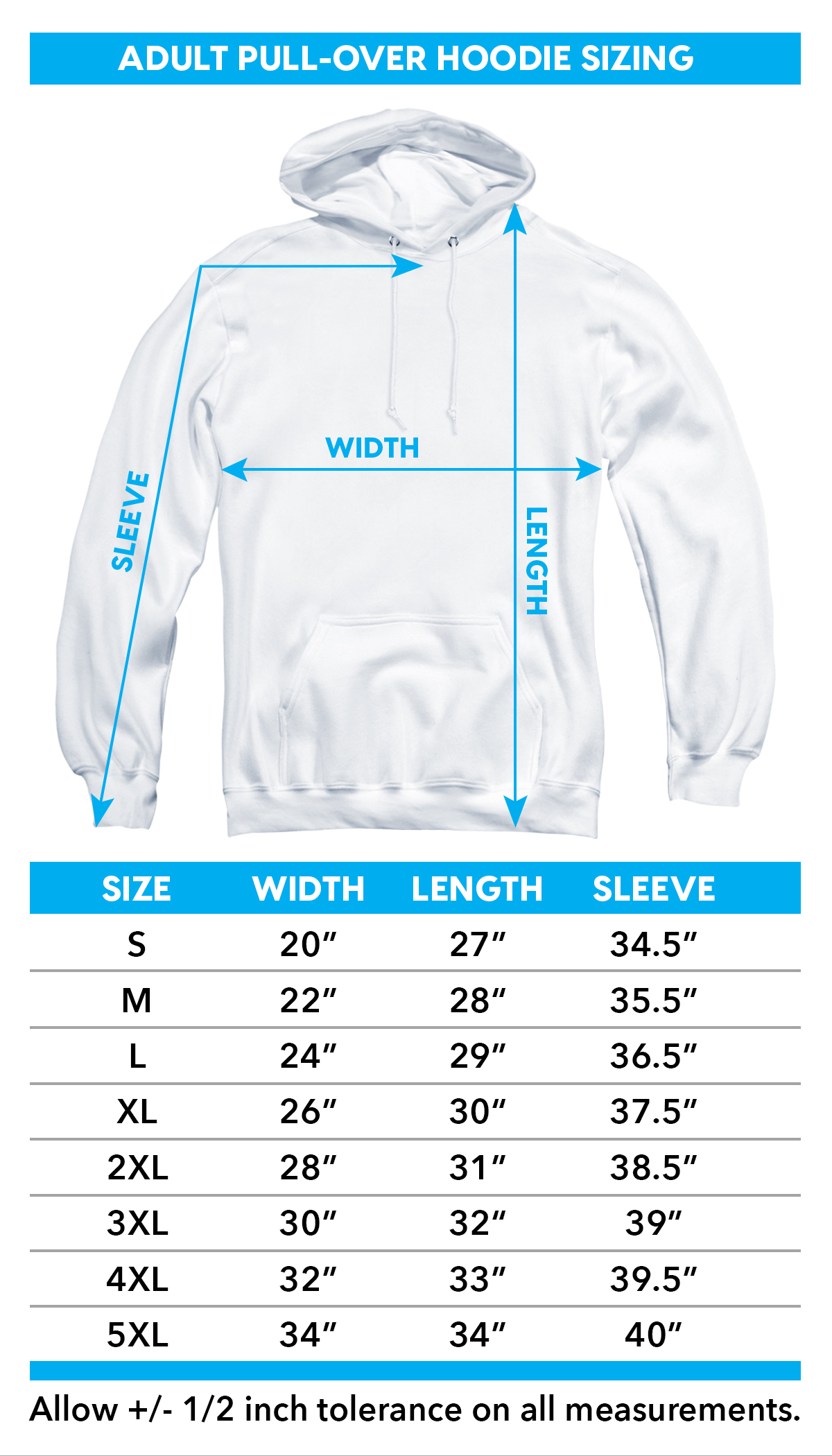 Sizing chart for Stevie Ray Vaughan Hoodie - SRV TRV-SRV105-AFTH
