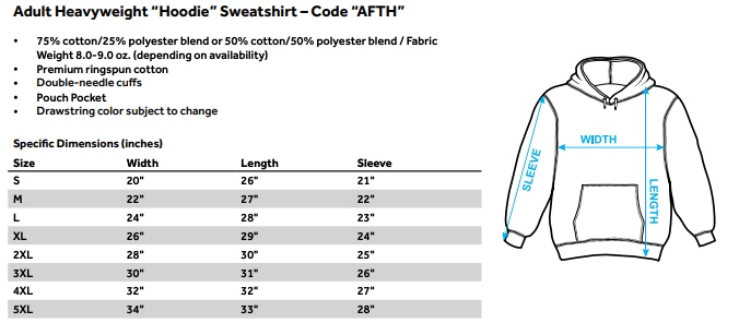 Sizing chart for Bloodsport Hoodie - True Story  TRV-MGM292-AFTH