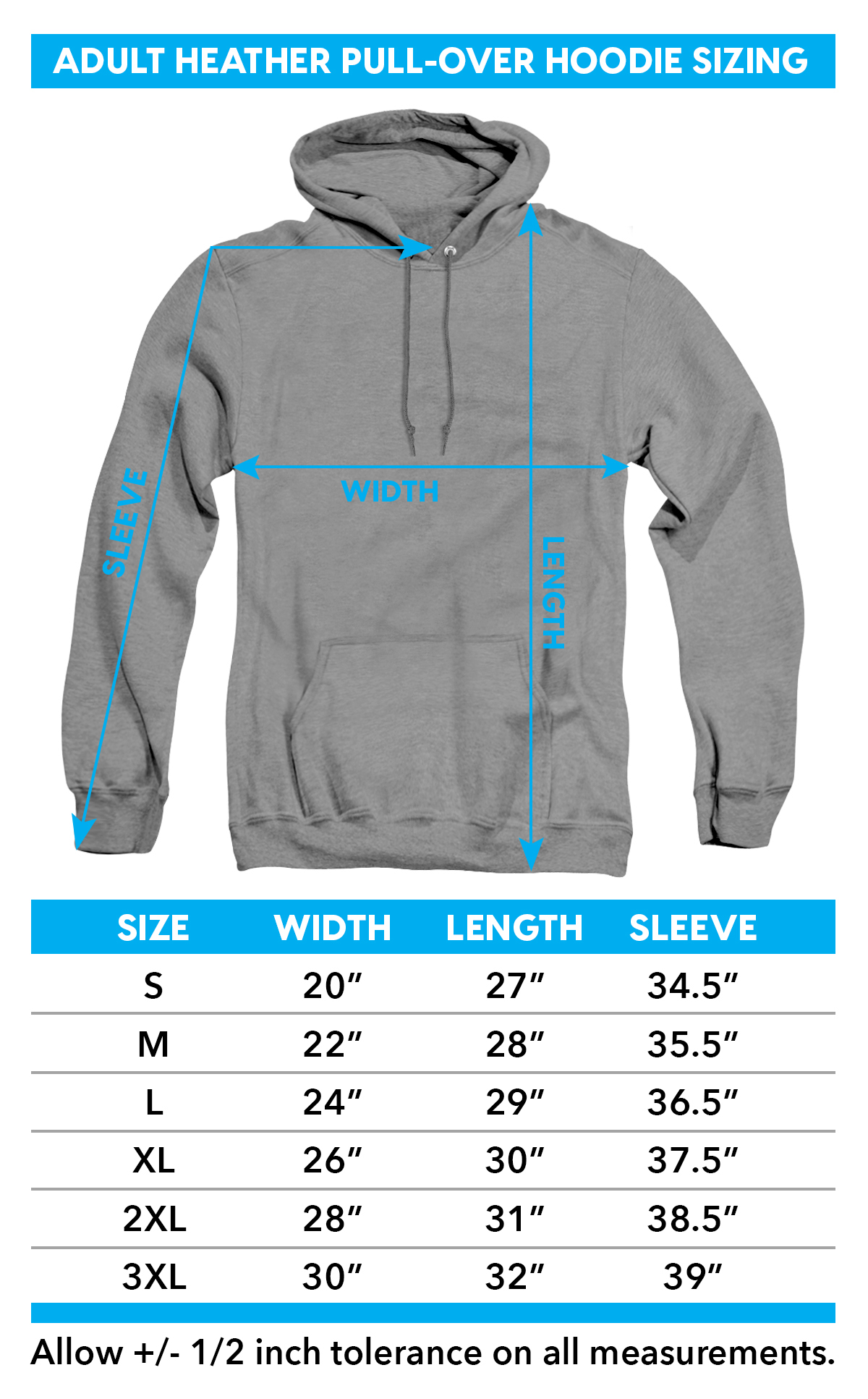 Sizing chart for Teen Wolf Heather Hoodie - TRV-MGM268-AHH