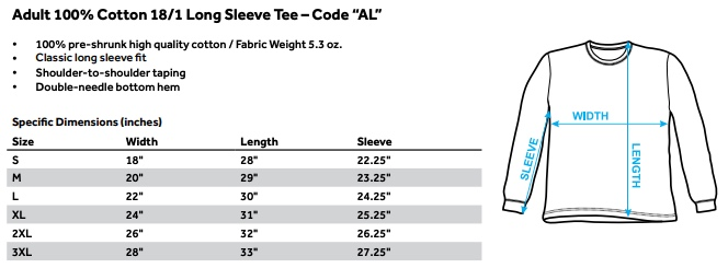 Sizing chart for Elvis Long Sleeve T-Shirt - Album TRV-ELV660-AL