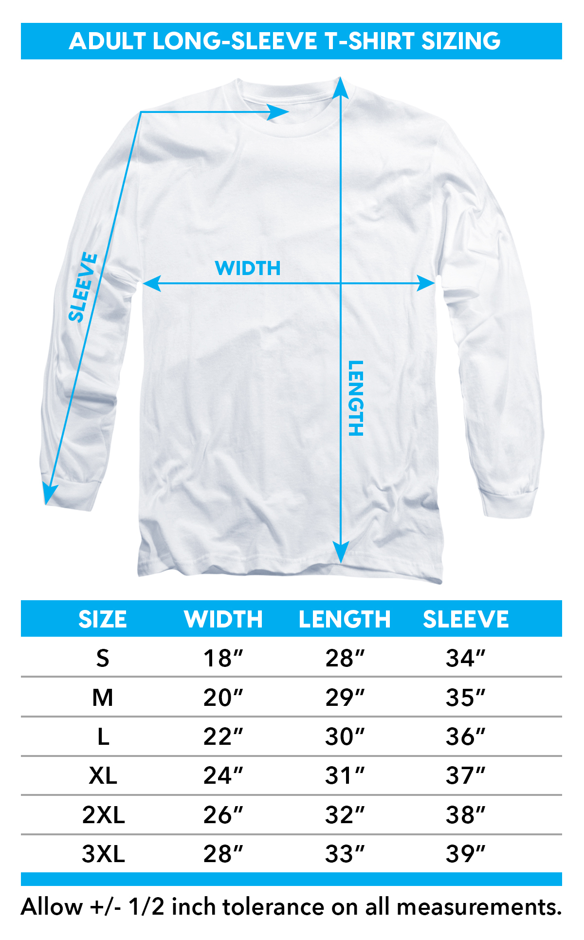 Sizing chart for Alien Long Sleeve T-Shirt - Double Jaws TRV-TCF285-AL