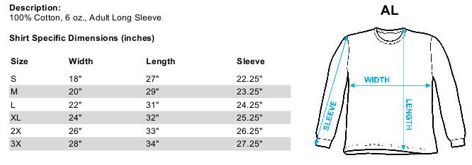 Sizing chart for Braveheart Long Sleeve T-Shirt - Rock On TRV-UNI984-AL