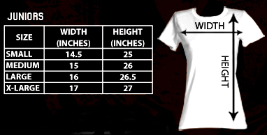 Sizing chart for AC/DC Highway to Hell Classic Juniors Racerback Tank Top AMC-BFC5107