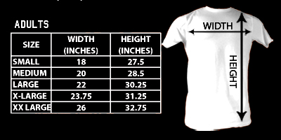 Sizing chart for the Animal House Pearl Harbor t-shirt ANM5228