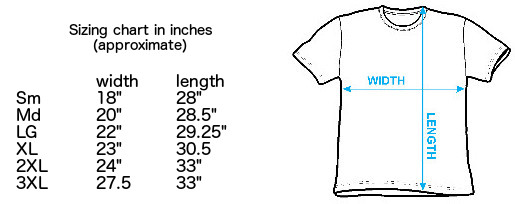 Size chart for the Chinatown Trucker t-shirt