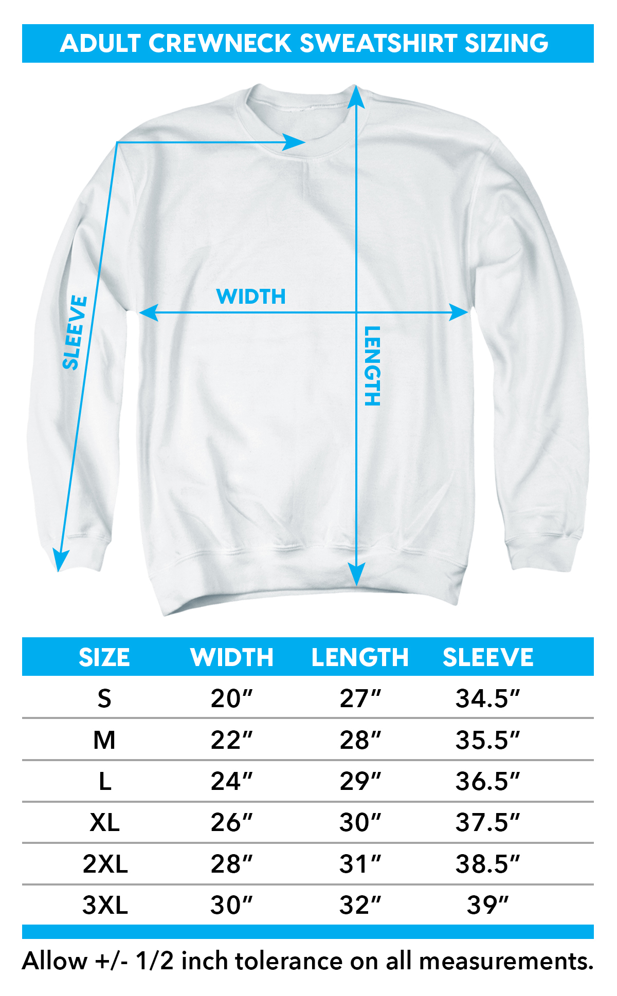 Sizing chart for the Batman Saints and Psychos crewneck sweatshirt