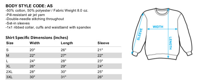 Sizing chart for the Astro Boy Schematics  crewneck sweatshirt