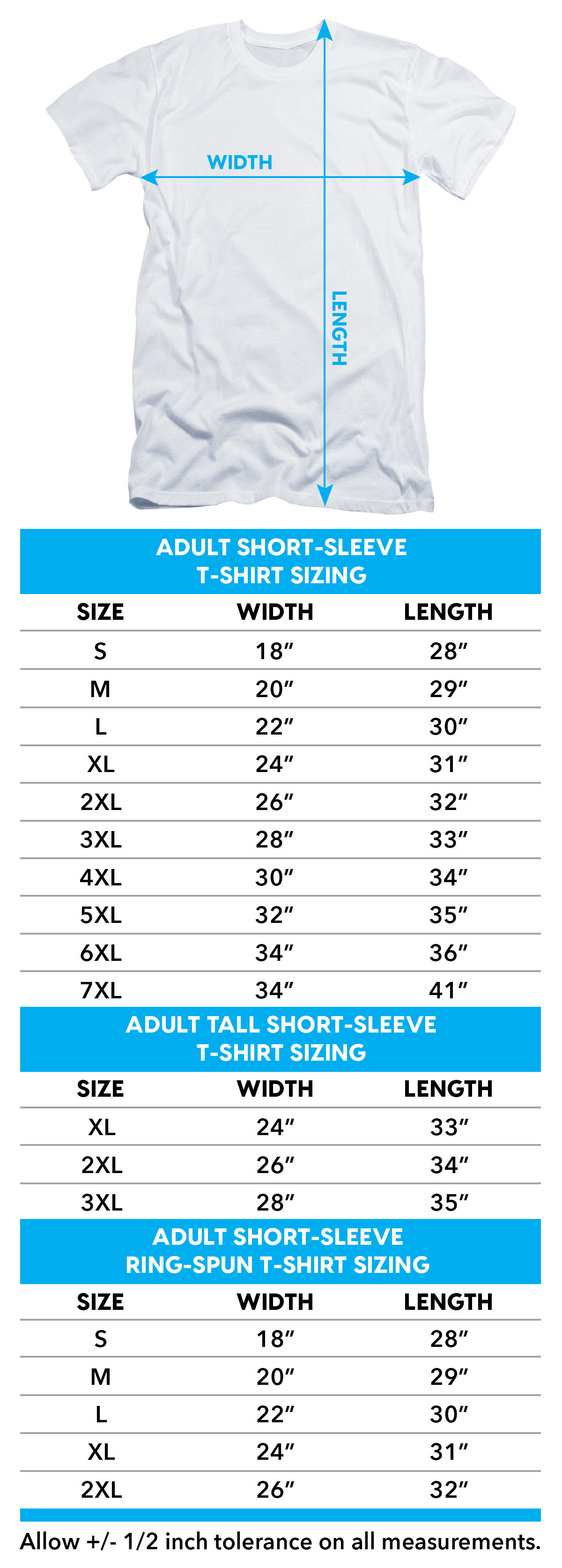 Size chart for Jaws T-Shirt - Lined Poster TRV-UNI1000-AT
