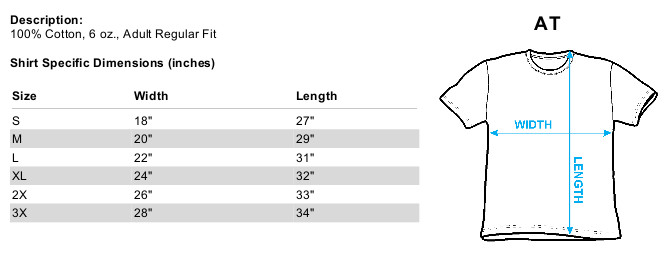 Sizing Chart for Superman T-Shirt - Through the Fire TRV-SM1718-AT