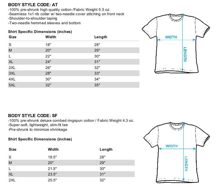 Size chart for Zombie T-Shirt - Zombie Xing TRV-GSA1047-AT