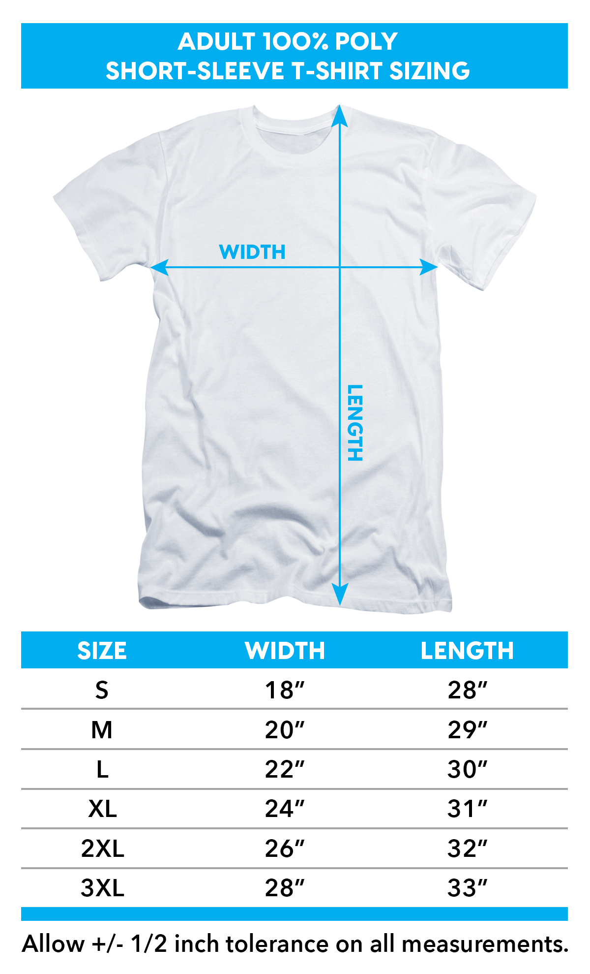 Sizing Chart for Star Trek Kirk Spock McCoy Sublimated T-Shirt
