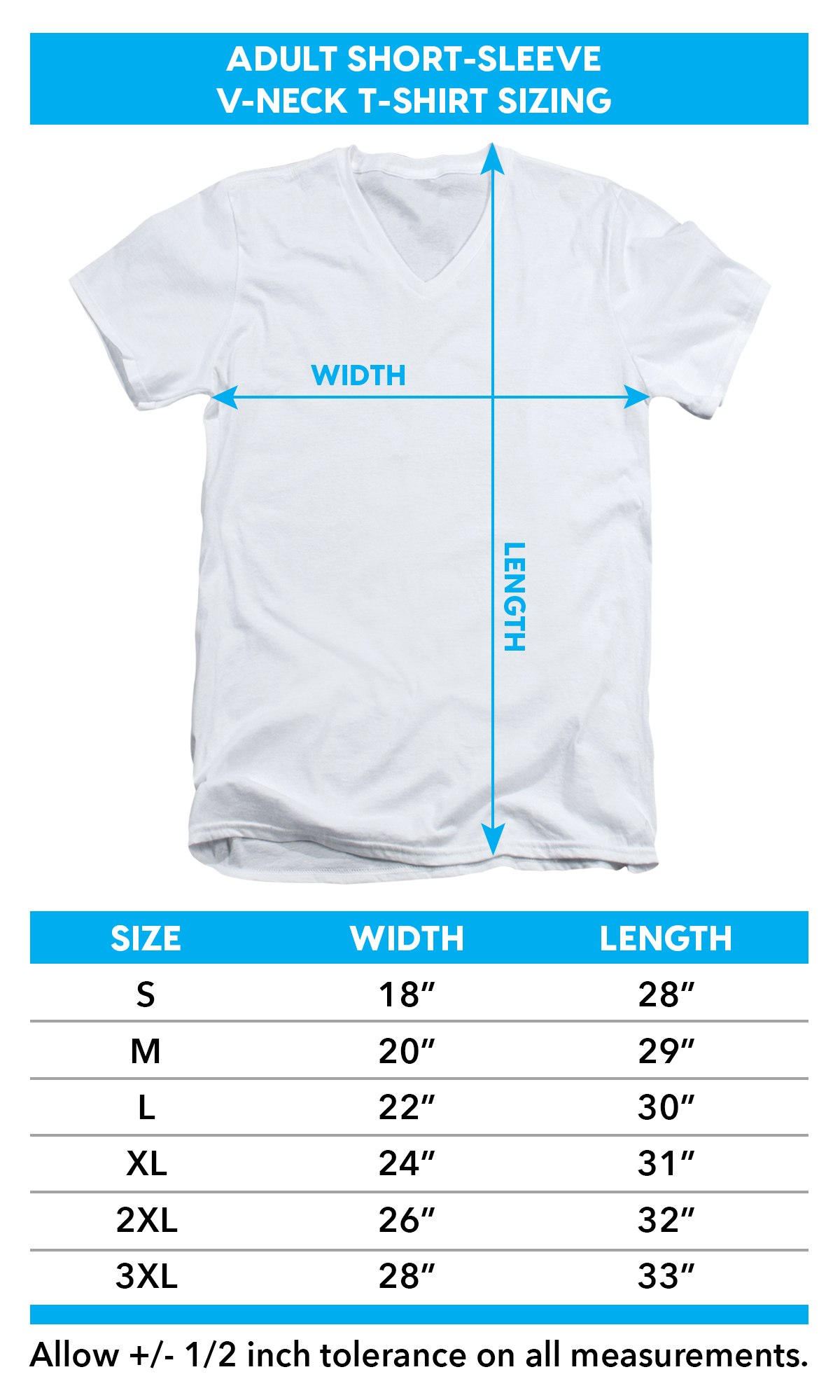 V Neck Sizing chart