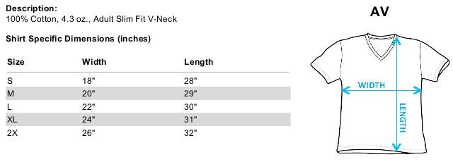 Size chart for Star Trek Season 2 Ep. 2 Where Silence Has Lease on Black V Neck T-Shirt CBS2044B-AV